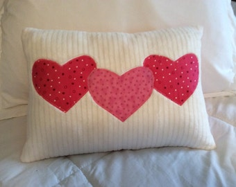Heart pillow cover, valentine pillow cover, nursery pillow cover, Hearts for baby