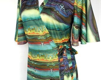 1970s Wrap Robe, Dress, Trippy Marbleized Print, Slinky Polyester, St. Michael, Small Medium