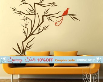 Branch and Birds Wall Decal, Branch Wall Sticker, Bird on Branch Japanese Style Wall Decal for Home Living Room Decor
