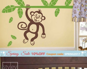 Monkey Wall Decal, Monkey Wall Sticker, Jungle Wall Decal, Jungle Monkey Holding Branch with Leaves Vinyl Wall Decal for Kids Room