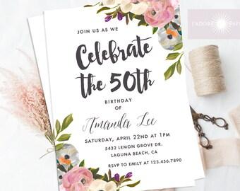 Printable Adult Birthday Invitation, Watercolor Floral Birthday Invite, Surprise Birthday Invite, Any Age, Adult Birthday, jadorepaperie