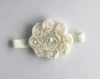 Ivory rosette headband
