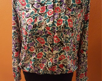 Vintage Colorful Floral Blouse by Alfred Dunner