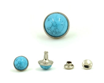 10 Sets Turquoise Blue Synthetic Rivet Stud Leather Craft Supplies Diy Crafts Fashion Decor Decorative Accessories 9 mm. TQ Bl RV 92WY
