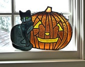 Vintage Leaded Stained-Glass Jack-O-Lantern & Black Cat Green Eyes
