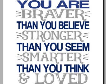 Always Remember, Braver than you Believe, Loved more than you know, Kids Wall Art, Nursery Art, Toddler, Boy Nursery Decor, Navy, Gray,Print