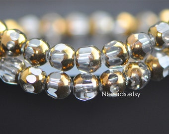 Faceted Glass Round beads 6mm Sparkly Clear Metallic Brass (GM017-1)/ 40 beads