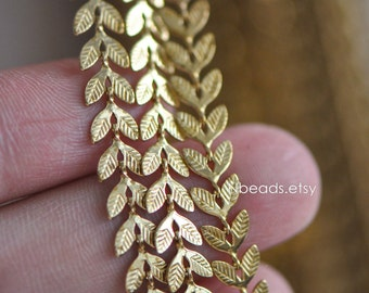 Unplated Raw Brass Designer Chain 6.5mm Two Sided Leaf (#RB-035)/ 1 Meter=3.3ft