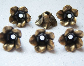 Antiqued brass flower petal bead caps, lot of (6) - KG189