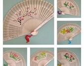 Wood Fans Flower Fan Favor Hand Fan Decor Floral Fan Decoration Folding Fan Party Supplies Summer Party Fan Garden Party Favor Wedding Favor