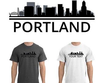 Portland Skyline T-Shirt - Men Women Youth Long Sleeve Personalized Custom Tee - OR Oregon Cityscape