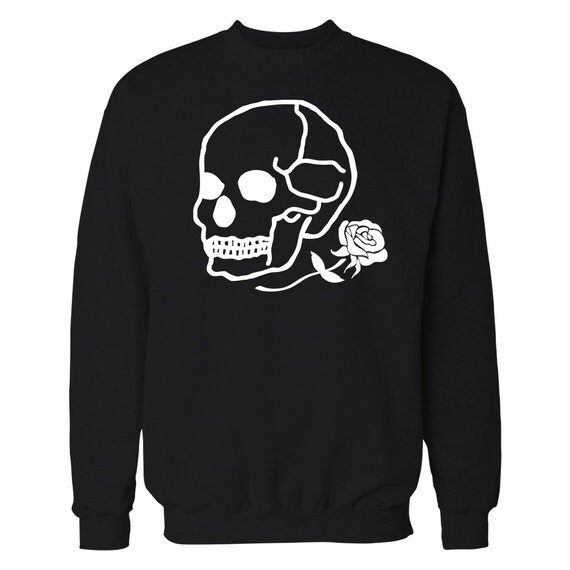 Pretty Bad Co. Skull and Rose Crewneck Sweater.