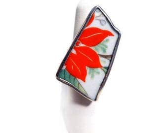 Hand-Made Poinsettia Ring, Recycled Porcelain and 925 Sterling Silver