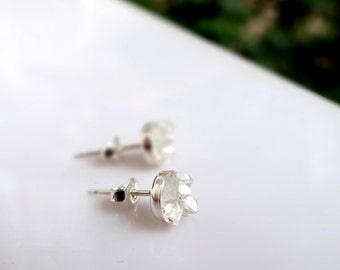 Silver Herkimer Stud Earrings, Sterling Silver Tiny Crystal Studs