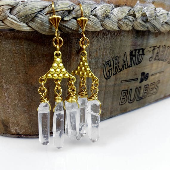 Crystal Quartz Earrings, Crystal Point Earrings, Chandelier Statement Earrings