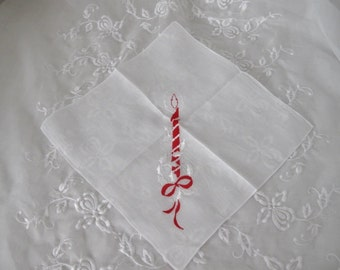 Vintage Christmas Handkerchief, Ladies Holiday Cotton Linen Hankie/Tea Napkin with Embroidered Candle, ECS, FREE Shipping