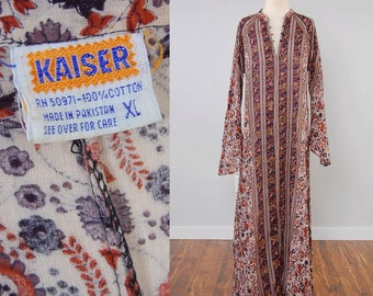 Vintage 70s cotton gauze Indian block print dress / KAISER block print tunic dress / Gold stamp details / RARE larger size