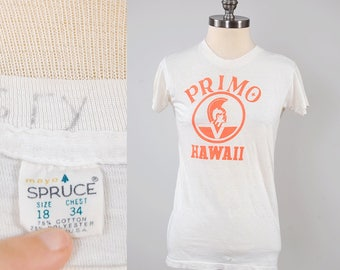 Vintage 60s PRIMO Hawaii beer t shirt / Paper thin t shirt / Mayo Spruce label