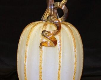 Hand Blown Glass Art Sculpture  Pumpkin Oneil 7170 SAFFRON