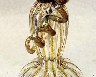Hand Blown Glass Art Sculpture  Pumpkin Oneil 7329 clear