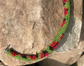 Peyote Ladybug Bead Bracelet
