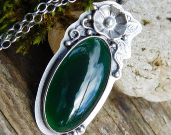 Green Onyx and Sterling Silver Blossom Necklace