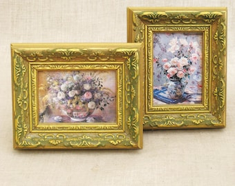 Vintage Flower Still Life Painting, Floral Still Life, Pair, Small, Reproduction, Giclee, Wall Decor, Miniatures, Framed Art, Print