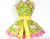 NEW Ready to Ship Pink Lemonade Candy Shop Apron with Lemons and Polka Dots Two Pockets