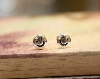Smiley Face Sterling Silver Stud Earrings