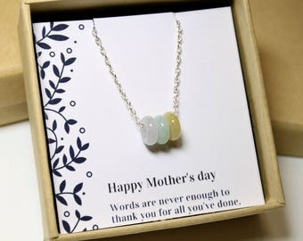 Mothers Day Gift, Jade Trio Circle Silver Necklace, Jade Donuts, Sterling Silver Chain, Birthday Gift, Moms Gift