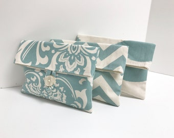 READY TO SHIP // Set of 3 // Blue and Ivory Clutches
