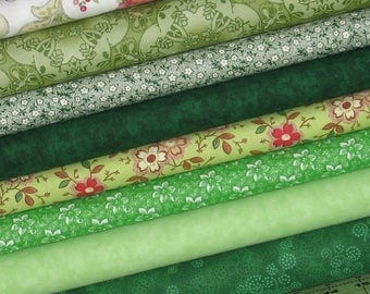 Green with Envy Fat Quarter Bundle, 100% Cotton Quilt Fabric Bundle, Fabric for Sale, Cotton Fabric Blenders