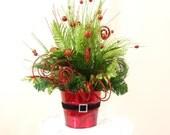 Christmas Centerpiece * Green and Red Centerpiece * Christmas Decor * Holiday Centerpiece * Holiday Decoration * Santa Decor * Arrangement
