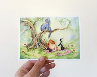 Fantasy Art Note Card - Watcha Reading - dragon. whimsical. bookworm. cute. fairy tale. story book. watercolor.