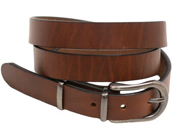 """Men Or Women's 1"""" Narrow Dress Belt Retanned Walnut Leather 3-piece Buckle And Double Loops Set Old Nickel Finish Made In USA"""
