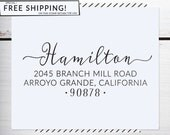 Custom Address Stamp, Return Address Stamp, Boho Wedding address stamp, Calligraphy Address Stamp, Self inking or Eco Mount stamp - Hamilton