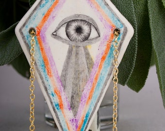 Third Eye Necklace, Air Dry Clay Pendant, Pencil Drawing, Geometric, Tribal, Ceramic Jewelry, Ceramics, Handmade, Rhombus, Schmuck