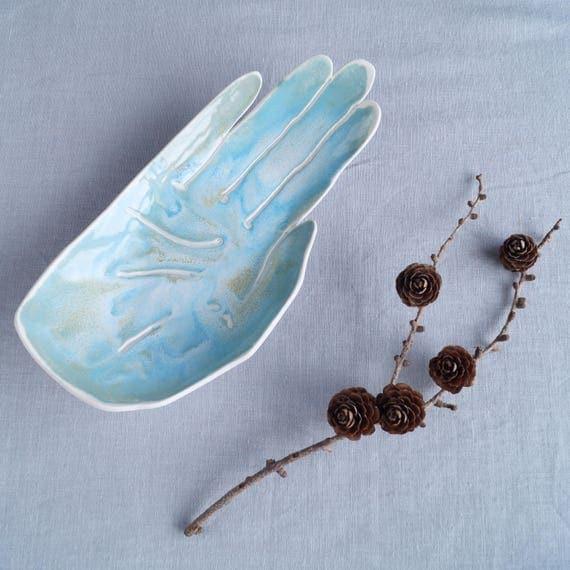 Large PALM porcelain bowl, ceramic bowl, aqua turquoise glaze, candle holder, bathroom accessory, palmistry, fruit bowl, bits and bobs