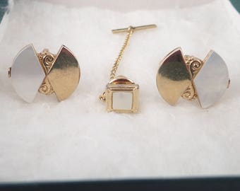 Vintage 3 pc SWANK Cuff Links & Tie Pin Set - Retro Mid Century Mother of Pearl and Brass Men's Accessories