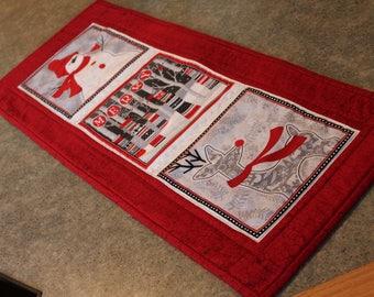 Red Snowman Reindeer  Christmas 11 1/2 X 27 Table Runner Topper