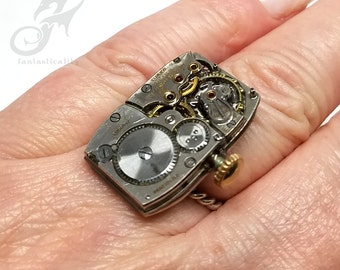 Size 8 Steampunk Ring, Longines Watch Movement ~ Handmade Sterling Silver Rope Style Band ~ Fixed Size, NOT Adjustable ~ #R0101