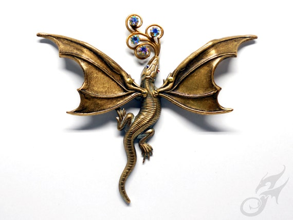 DRAGON PIN Antique Gold w/ Blue AB Rhinestones, 2 Posts, Fantasy, Victorian Steampunk, Game of Thrones, Tack Pin, Purse Hat Lapel, #Pin0116