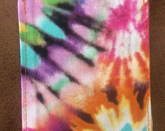 Tie dyed luggage tag, hippie, gift, backpack, colorful