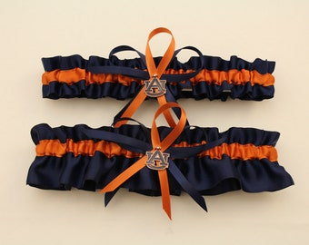 Wedding Garter with Auburn University Colors, Bridal Garter, Prom Garter  (Your Choice, Single or Set)