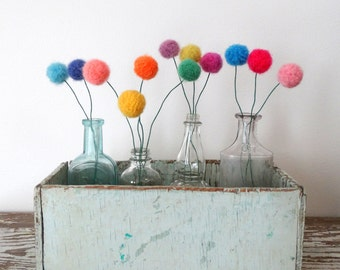 Pom Pom Flowers.  Felt flowers. Multi-color Modern Bouquet.  Faux Flowers. Craspedia, Billy Balls.  Yarn Pompoms.  Fake Floral Centerpiece