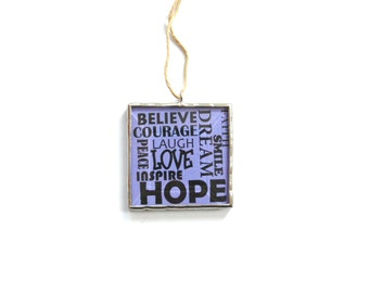 Inspiring words, stained glass, purple, positive influence, encouragement, inspirational, believe, typography, laugh, hope, dream, ornament
