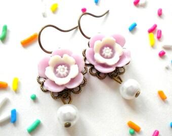 Flower Girl Earrings Gifts Lavender Earrings Flower Girl Pearl Earrings Bridesmaid Earrings Flower Girl Dangle Earrings Children Earrings