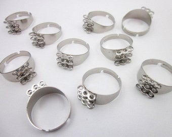 Bead Ring Finding -- Adjustable Ring Supply -- Silver Ring Blanks -- Silver Brass Ring Finding -- DIY Ring Blank -- Bead Ring Blank --Finger