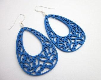 Blue Teardrop Earrings -- Laser Cut Wood Earrings -- Wooden Dangle Earrings -- Blue Wood Earrings -- Large Blue Earrings -- Blue Earrings
