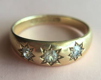 Antique Victorian Hallmarked English 18k Gold Gypsy Set Diamond Ring